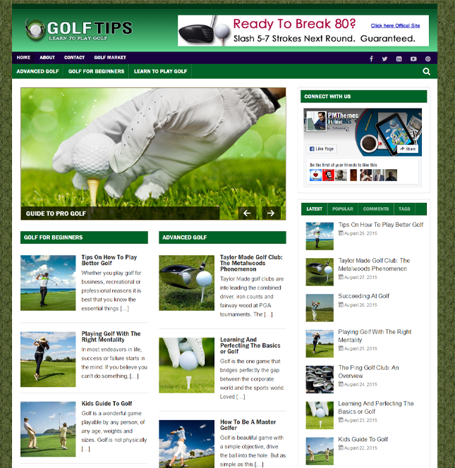 Golf Niche Ready Made Blog