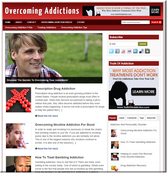 Overcoming Addiction Niche Site